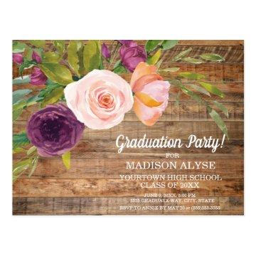 Rustic Purple Watercolor Floral Ivory Graduation Postcard