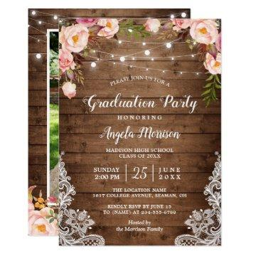 Rustic String Lights Floral Photo Graduation Party Card