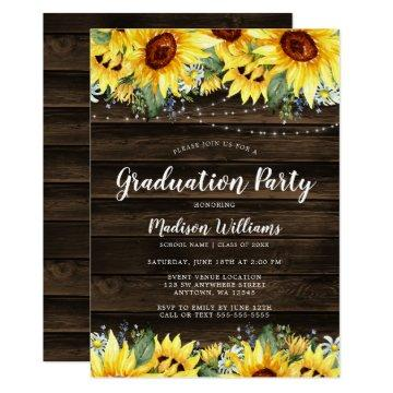 Rustic Sunflower Floral String Lights Graduation Invitation