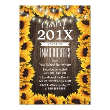 Rustic Sunflower Frame Floral Graduation Party Card
