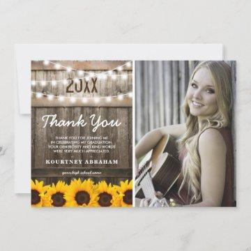 Rustic Sunflower Photo Graduation Photo Thank You