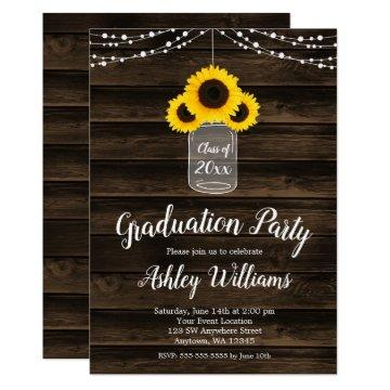 Rustic Sunflower String Lights Graduation Party Card