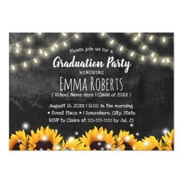 Rustic Sunflowers Chalkboard Graduation Invitation