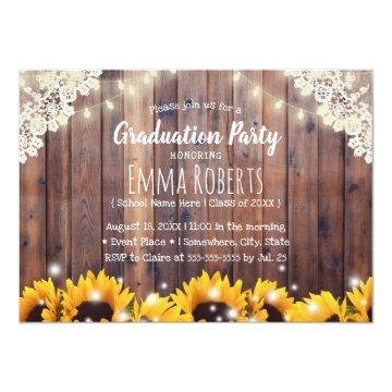 Rustic Sunflowers & String Lights Laced Graduation Invitation