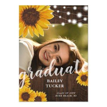 Rustic Sunflowers String Lights Photo Graduation Invitation
