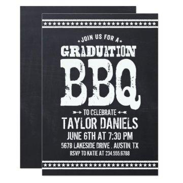 Rustic Vintage Chalkboard Graduation Party BBQ Invitation