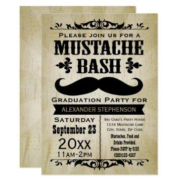Rustic Vintage Mustache Bash Graduation Party