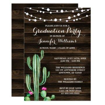 Rustic Watercolor Cactus Barn Wood Graduation Invitation