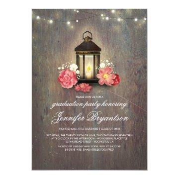 Rustic Wood and Lantern Barn Graduation Party Card