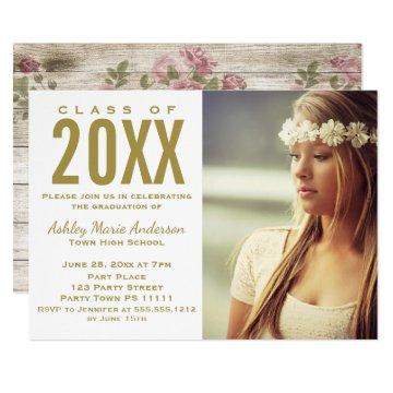 Rustic Wood Floral Gold Graduation Party Photo Card