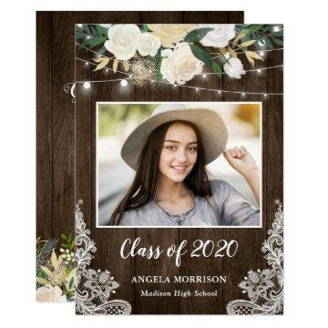 Rustic Wood Floral String Lights Graduation Party Invitation
