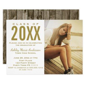 Rustic Wood Gold Graduation Party with Photo Card