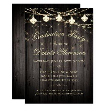 Rustic Wood Graduation Party | Fleur de Lis Lights Invitation