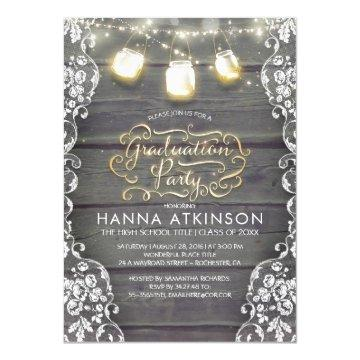 Rustic Wood Lace Mason Jar Lights Graduation Party Invitation