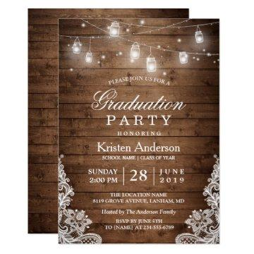 Rustic Wood Lace String Lights Graduation Party Card