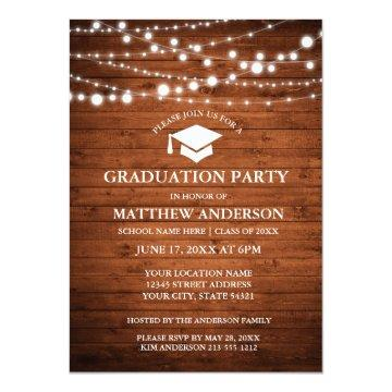 Rustic Wood Lights Graduation Party Invitation WC