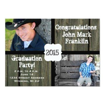 Rustic Wood Photo Graduation Announcement