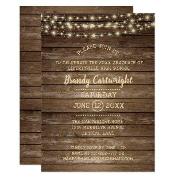 Rustic Wood & String Lights Graduation Party Card