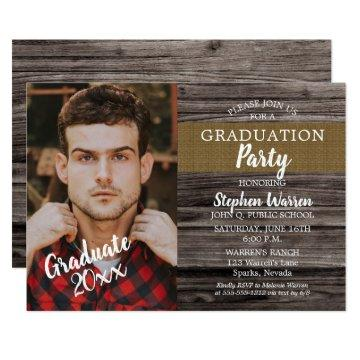 Rustic Woodsy Photo Graduation Party Card