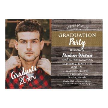 Rustic Woodsy Photo Graduation Party Magnetic Invitation
