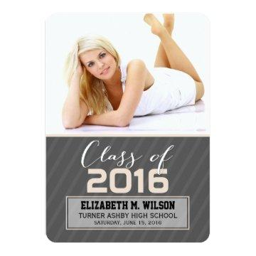 Sassy Stripes Graduation Announcement (ivory)