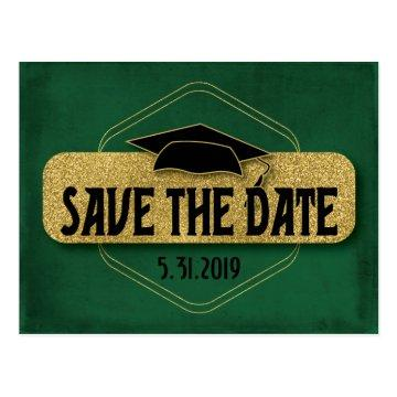 Save The Date Graduation Modern Green Gold Postcard