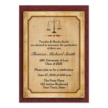Scales of Justice, Parchment, Grad Announcement
