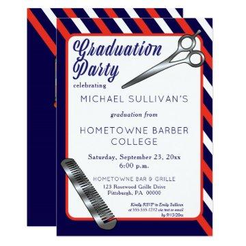 Scissors | Comb Barber School Graduation Party Card