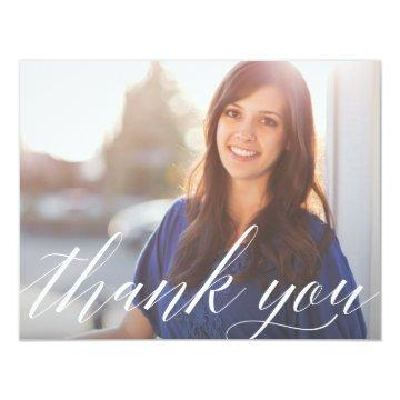 Script Graduate Photo Thank You Note Card