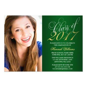 Script Green Gold Photo Graduation Announcement