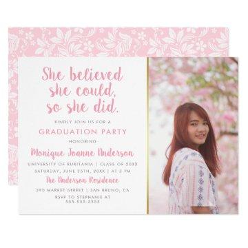 She Believed She Could So She Did Photo Graduation Invitation
