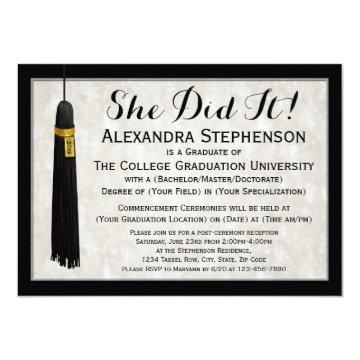 She Did It Tassel College Graduation Invitation