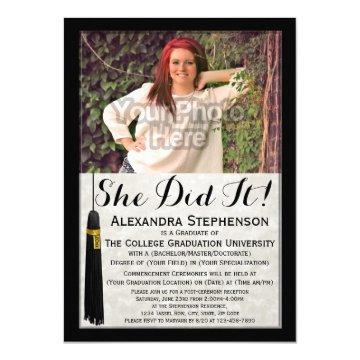 She Did It Tassel Photo College Graduation Invitation