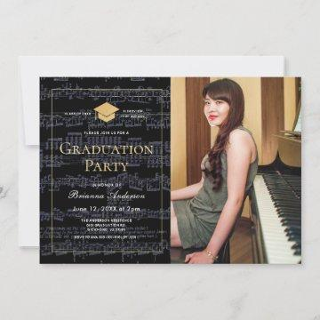 Sheet Music Black & Gold Photo Graduation Party Invitation