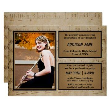 Sheet Music with Photo - Grad Announcement