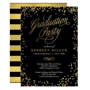 Shiny Confetti Graduation Party  Black