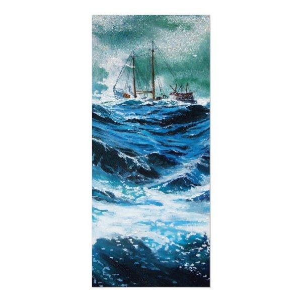Ship In the Sea in Storm Card