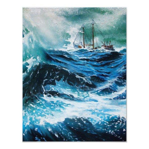 Ship In the Sea in Storm ,Parchment Card