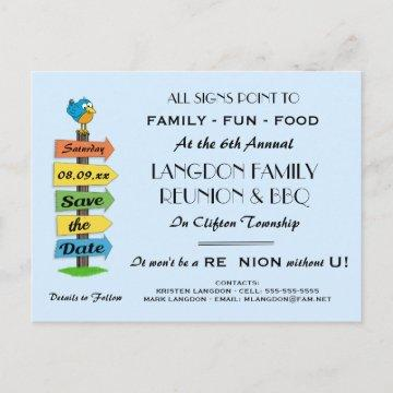 Signpost Save the Date Reunion, Party or Event Announcement Postcard