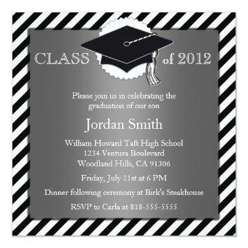 Silver and Black Graduation Announcement