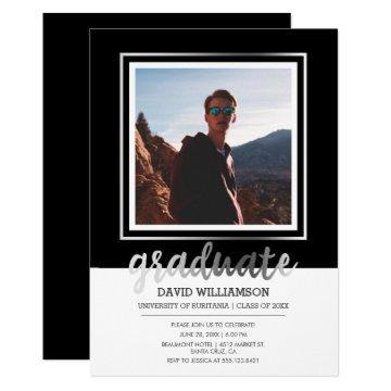 Silver & Black Script | Photo Frame Graduation Invitation