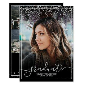 Silver confetti border script photo graduation invitation
