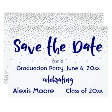 Silver Confetti Navy Typography Save the Date 2b