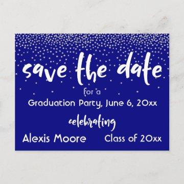 Silver Confetti Over Navy, Modern Save the Date 2 Announcement Postcard