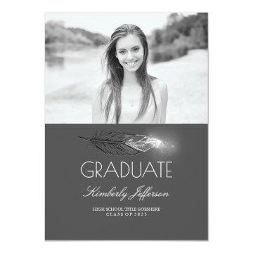 Silver Feather Glitter Photo Graduation Party Card