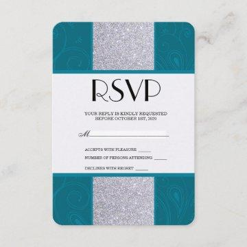 Silver Glitter and Aqua Teal with Swirly Design RSVP Card