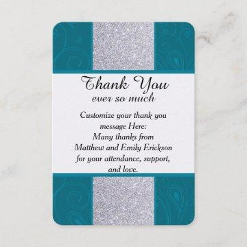 Silver Glitter and Aqua Teal with Swirly Design Thank You Card