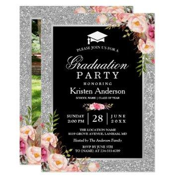Silver Glitter Floral 2019 Photo Graduation Party Invitation