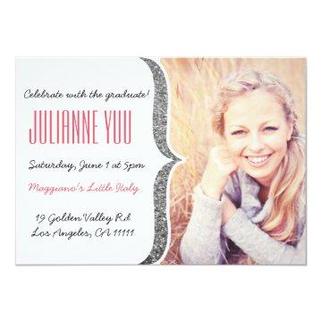 Silver Glitter Graduation 2015 Personalized Invite