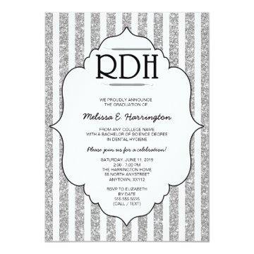 Silver Glitter RDH graduation dental hygienist Card